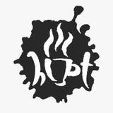 Tasse chaude dans une tache d'encre illustration de vecteur