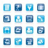 Tasse, commercio ed icone di finanze Fotografia Stock