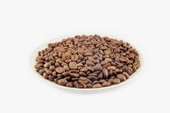 Tasse complètement de grains de café d'isolement Images stock