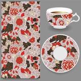 Tasse courante de café et d'ornement oriental floral sans couture Image stock