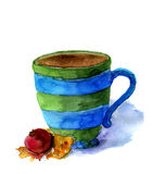 Tasse d'aquarelle de thé avec le bonbon Photo stock