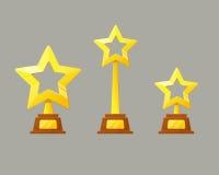 Tasse d'or de gagnant Icône d'étoile de trophée Images libres de droits