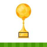 Tasse d'or du gagnant, ballon de football Photographie stock