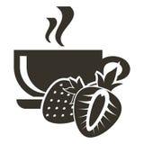 Tasse d'icône de thé chaud avec la saveur de fraise Logo dans le style plat photo stock