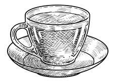 Tasse d'illustration de thé, dessin, gravure, encre, schéma, vecteur illustration libre de droits