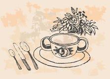 Tasse d'illustration tirée par la main de thé illustration stock