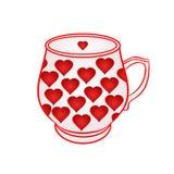 Tasse de avec vecteur rouge de coeurs Photo libre de droits