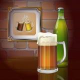 Tasse de bière, bouteille, mur de briques Deux tasses de bière dans le cadre Vecteur illustration de vecteur