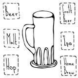 Tasse de bière de vintage Illustration tirée par la main de vecteur Image libre de droits