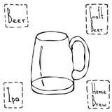 Tasse de bière de vintage Illustration tirée par la main de vecteur Photo stock