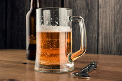 Tasse de bière et bouteille à bière Photographie stock libre de droits