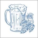 Tasse de bière stylisée d'isolement sur un blanc Illustration de Digital illustration libre de droits