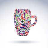 Tasse de bière créative décorée du modèle floral Thème d'alcool Photos stock