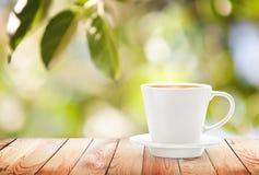 Tasse de boisson chaude sur le fond d'été Images stock