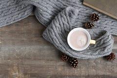 Tasse de cacao dans une écharpe grise Photographie stock