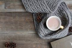 Tasse de cacao dans une écharpe grise Photographie stock libre de droits