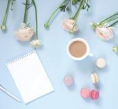 Tasse de cacao, des biscuits de macarons colorés dans des couleurs en pastel, des fleurs roses sensibles de ranunculus et de carn Photo libre de droits