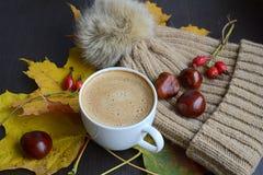 Tasse de café avec des feuilles, des châtaignes et le chapeau de pompon de fourrure de faux Photographie stock