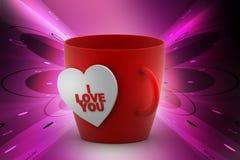 Tasse de café avec l'étiquette d'amour Photographie stock