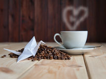 Tasse de café avec la grue Photos libres de droits