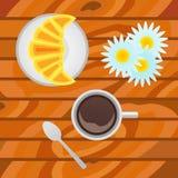 Tasse de café avec le croissant sur le fond en bois Vue supérieure illustration libre de droits