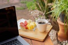 Tasse de café avec le fruit frais et l'ordinateur portable sur la table en bois dans le jardin image stock