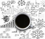 Tasse de café avec le graphique et le diagramme Photographie stock libre de droits