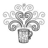Tasse de café avec le zentangle abstrait de modèle de style, modèle Main Image libre de droits