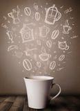 Tasse de café avec les accessoires tirés par la main de cuisine Photos libres de droits