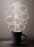 Tasse de café avec les bulles tirées par la main de la parole Photos libres de droits