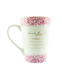 Tasse de café avec un texte d'amour Photo stock