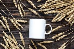 Tasse de café blanc avec des transitoires de blé sur le backgro en bois foncé Images libres de droits