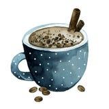 Tasse de café bleue, cacao avec de la cannelle, grains de café illustration stock