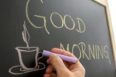 Tasse de café bonjour Photographie stock libre de droits