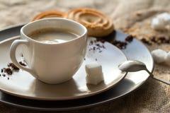 Tasse de café chaud d'expresso, et de biscuit Photographie stock libre de droits