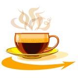 Tasse de café chaud, verre, flèche Photo libre de droits