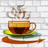 Tasse de café chaud, verre, flèche sur le mur Photographie stock
