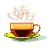 Tasse de café chaud, verre, vecteur Image libre de droits