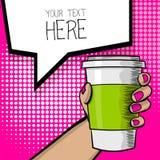 Tasse de café de main de bande dessinée d'art de bruit Photo libre de droits
