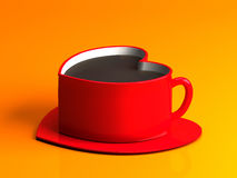 Tasse de café en forme de coeur rouge d'isolement sur le fond orange Photos libres de droits
