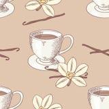 Tasse de café esquissée avec le modèle sans couture de fleur de vanille illustration libre de droits
