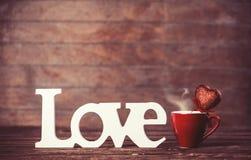 Tasse de café et d'amour de mot Photos libres de droits