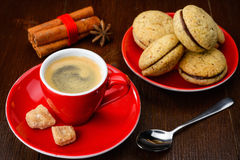 Tasse de café et de biscuits Photos stock