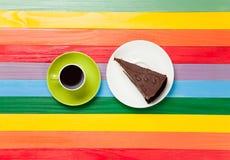 Tasse de café et de gâteau d'un plat Photo libre de droits