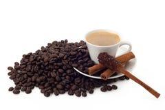 Tasse de café et de haricots avec le bâton de cannelle de sucre Images libres de droits
