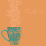 tasse de café et de thé avec le modèle floral Photographie stock libre de droits