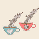 tasse de café et de thé avec le modèle floral Fond de tasse Drin chaud Images stock