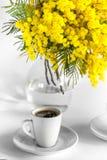 Tasse de café et de vase avec des branches de mimosa sur un fond blanc Photos libres de droits