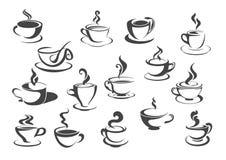 Tasse de café et ensemble d'icône d'isolement par tasse de thé illustration stock