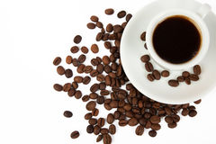 Tasse de café et grains de café Photos libres de droits